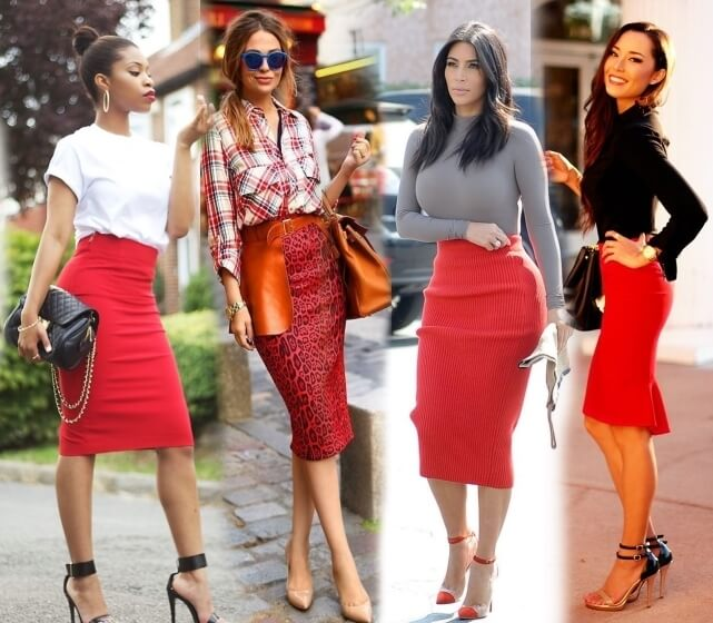 С чем носить и правильно сочетать красную юбку карандаш - создаем шикарные образы