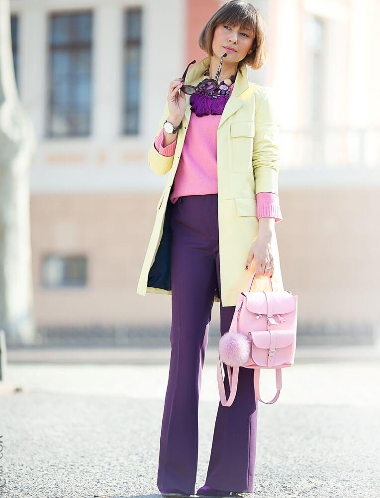С чем сочетается фиолетовый цвет в женской одежде и какому цветотипу внешности подходит