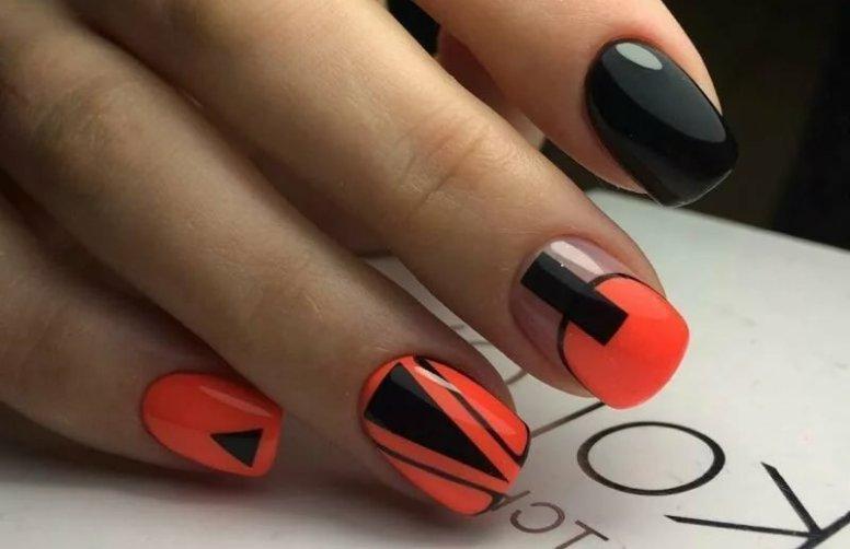 Фото черно-красного маникюра на коротких и длинных ногтях: красивый и модный дизайн