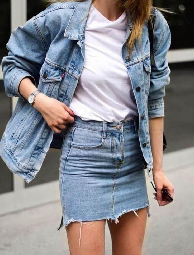 С чем носить и сочетать джинсовую юбку в разных стилях