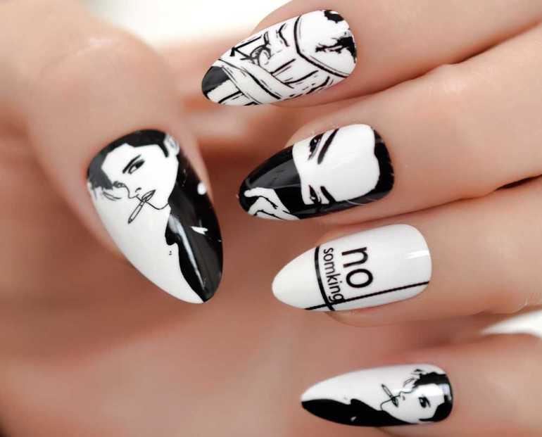 сегодня черно белая картинка дизайна ногтей были