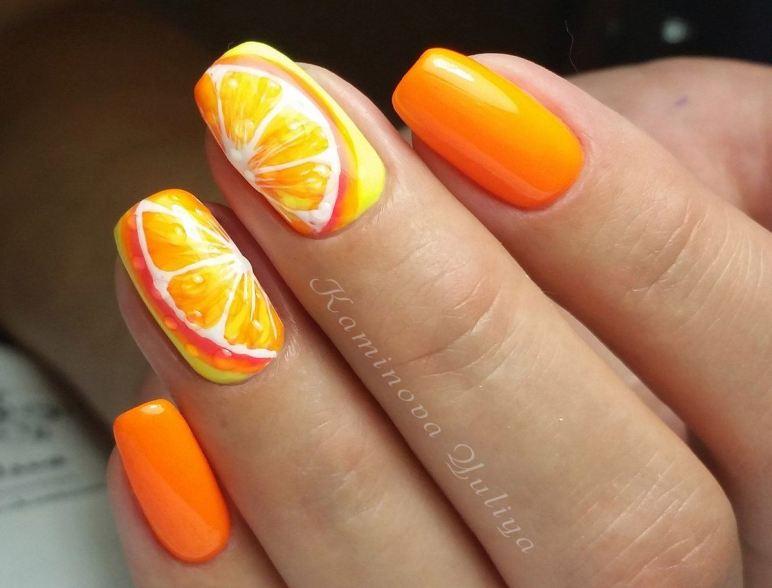 Оранжевый маникюр с фото модных трендов и дизайнов