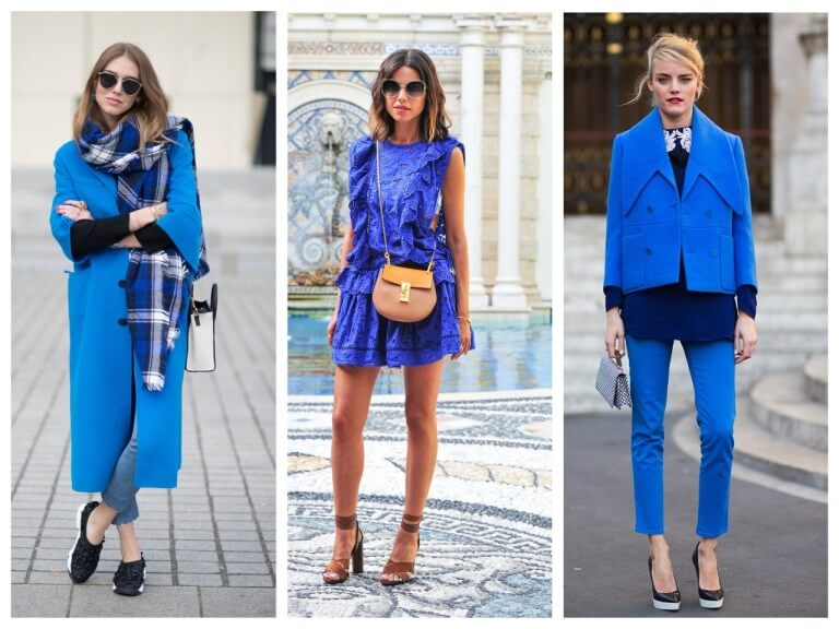 С чем сочетается синий цвет в одежде у женщин: фото стильных образов