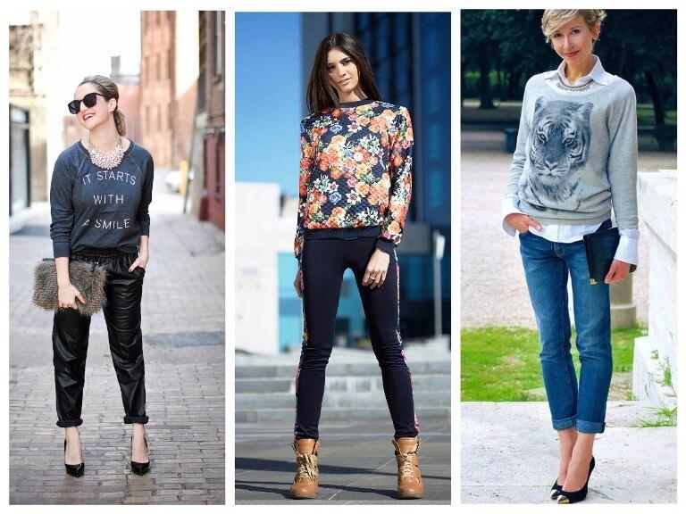 Что это такое женский свитшот и с чем его носить - фото модных образов