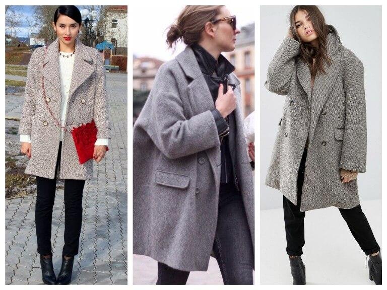 С чем носить женское пальто оверсайз - фото модных образов