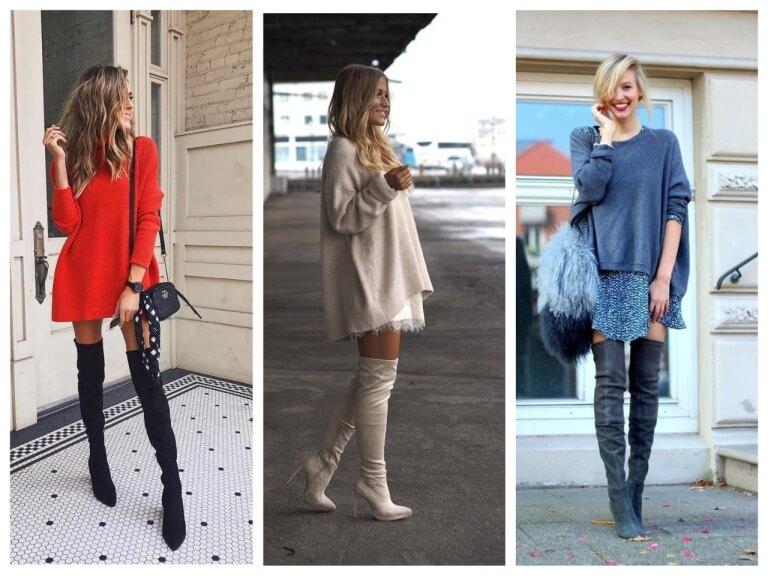 С чем носить сапоги чулки - фото модных образов