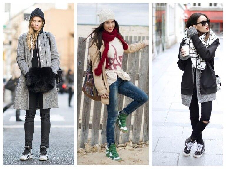 Зимние женские кроссовки с чем носить - модные тенденции