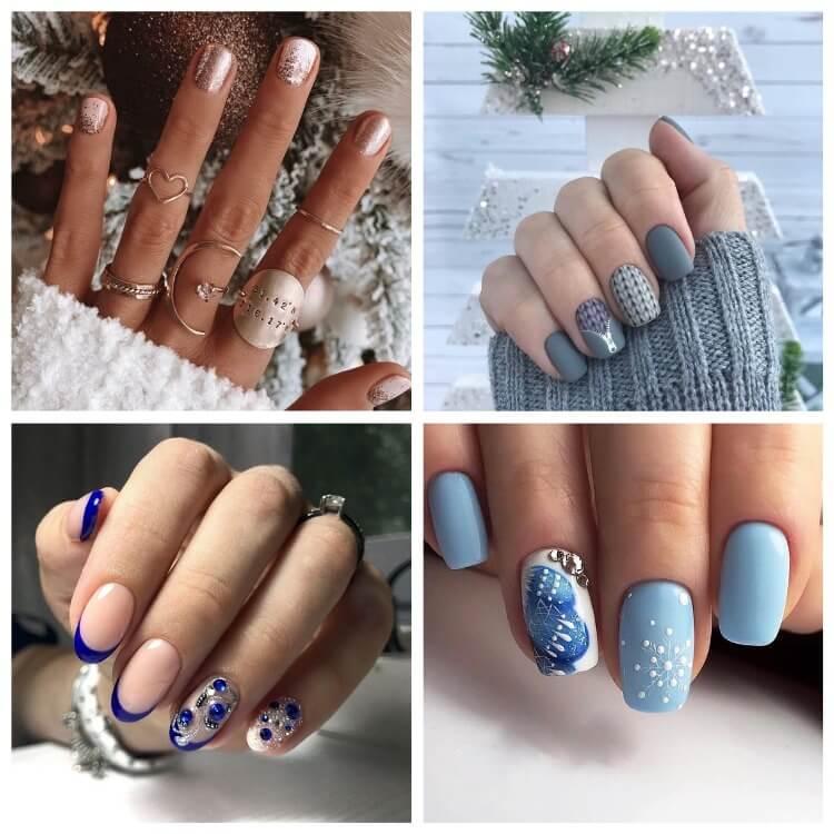 Красивый зимний маникюр - фото разнообразных дизайнов