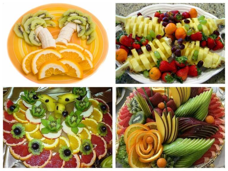 Красивое оформление фруктовой тарелки на праздничный стол в домашних условиях