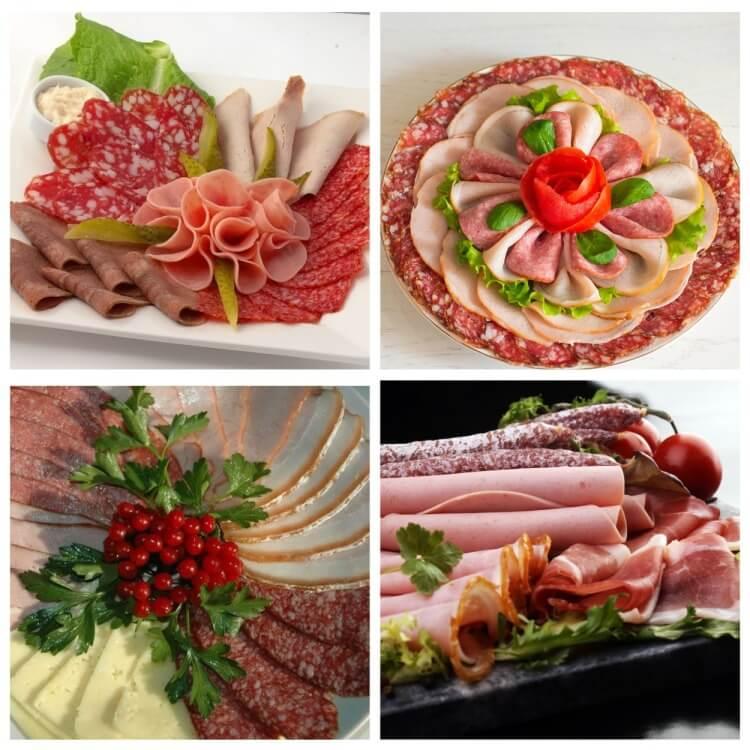 Как красиво уложить и подать колбасную нарезку на праздничный стол - фото оформления