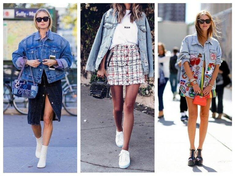 С чем носить женскую джинсовую куртку в 2020 году - фото модных сочетаний