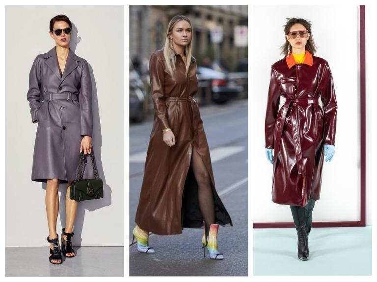 С чем носить женский кожаный плащ - фото модных сочетаний
