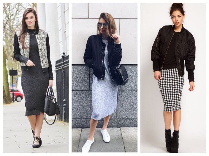 С чем носить модную куртку бомбер женский