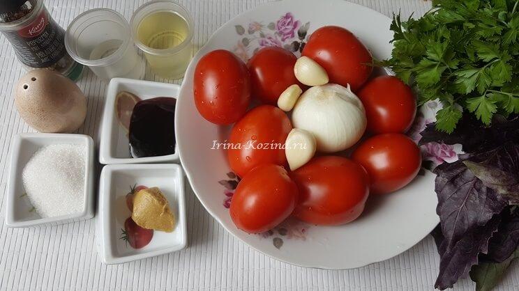 Маринованные помидоры быстрого приготовления с чесноком и зеленью
