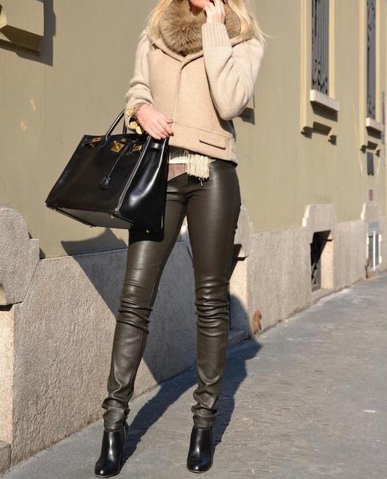 С чем носить кожаные легинсы - фото модных образов