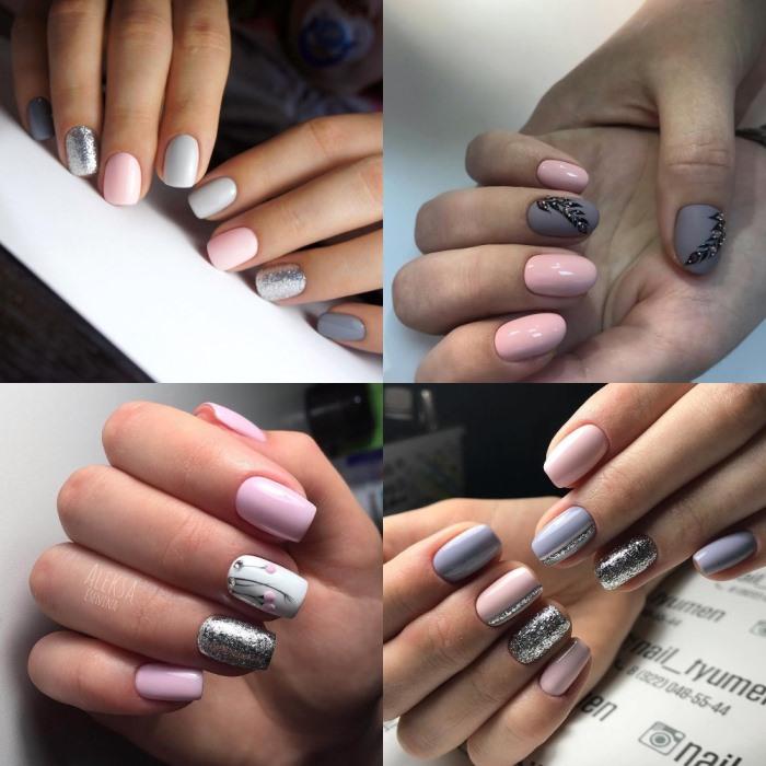 Маникюр серый с розовым - идеи красивых дизайнов с фото
